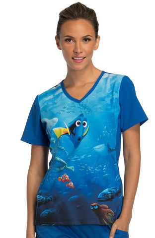Tooniforms by Cherokee Women's V-Neck Knit Panel Finding Dory Print Top - TF627