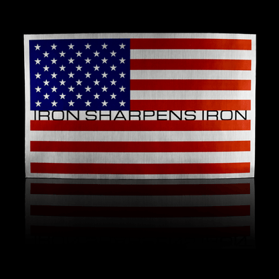 Large Iron Sharpens Iron Colored Flag Sticker - Iron Apparel