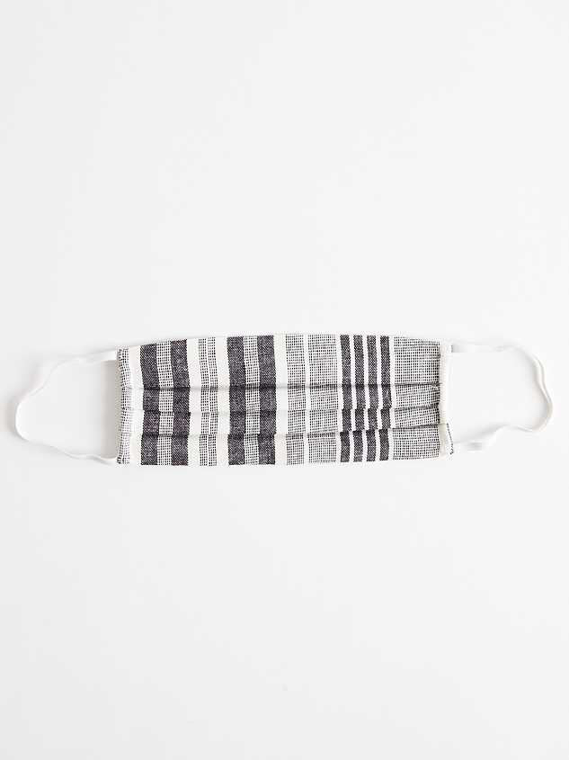 STRIPED COTTON LINEN FACE MASK