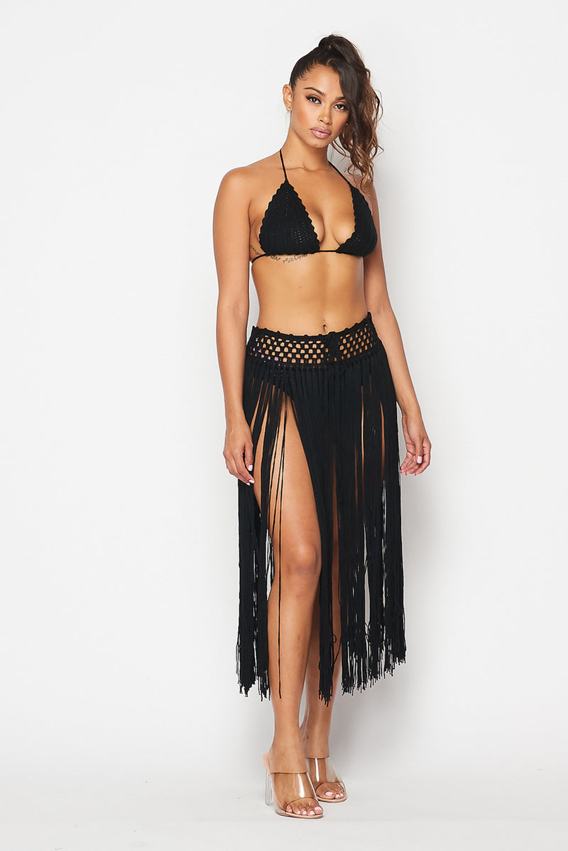 CHILLIN CROCHET FRINGE SKIRT SET