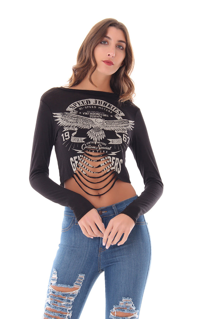 LET'S SHRED  IT CROP TOP