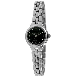 Petite Round Link Bracelet Watch - Black/ Silver - Peugeot Watches