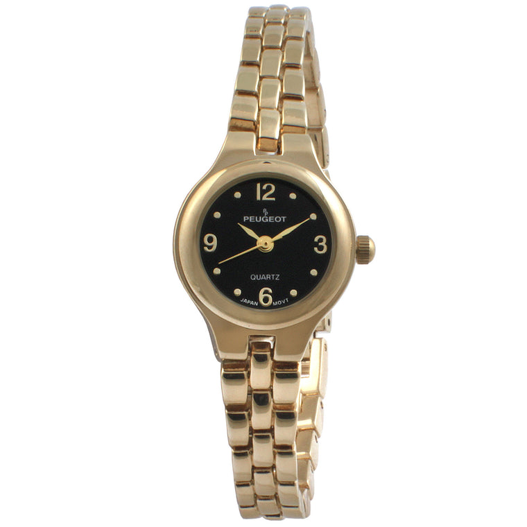 Petite Round Link Bracelet Watch - Black/ Gold - Peugeot Watches