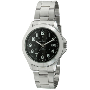 Silver Military Watch by Peugeot , black face