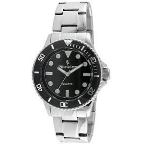 mens stainess steel round face watch with black face and black sport bezel