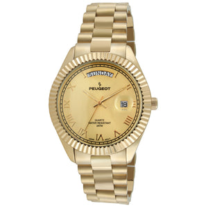 man gold bracelet watch Roman numerals with fluted bezel with day & date window gold face rolex look