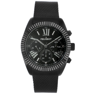 men black chronograph watch, with black steel mesh band