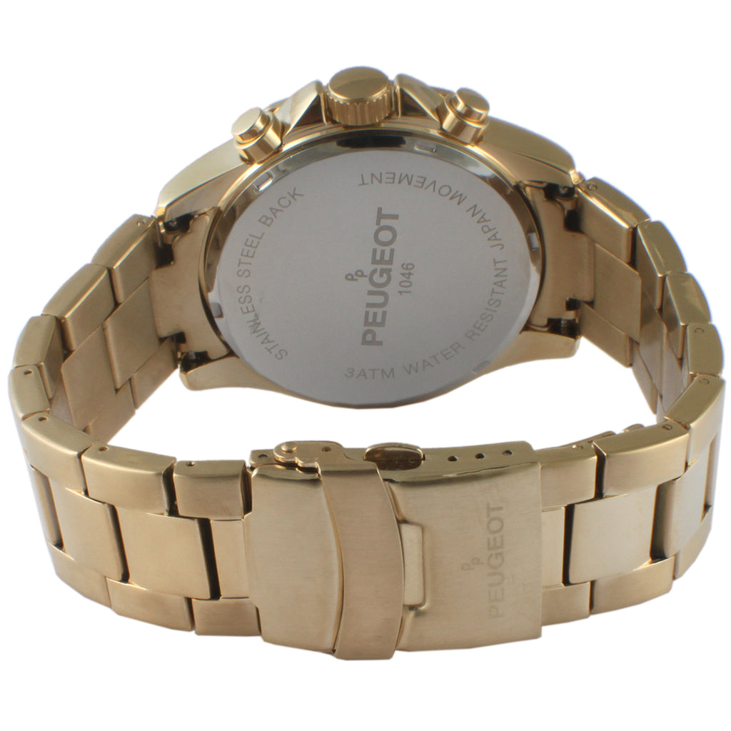 Peugeot Men's Stainless Steel Three Sub Dial Watch - Gold
