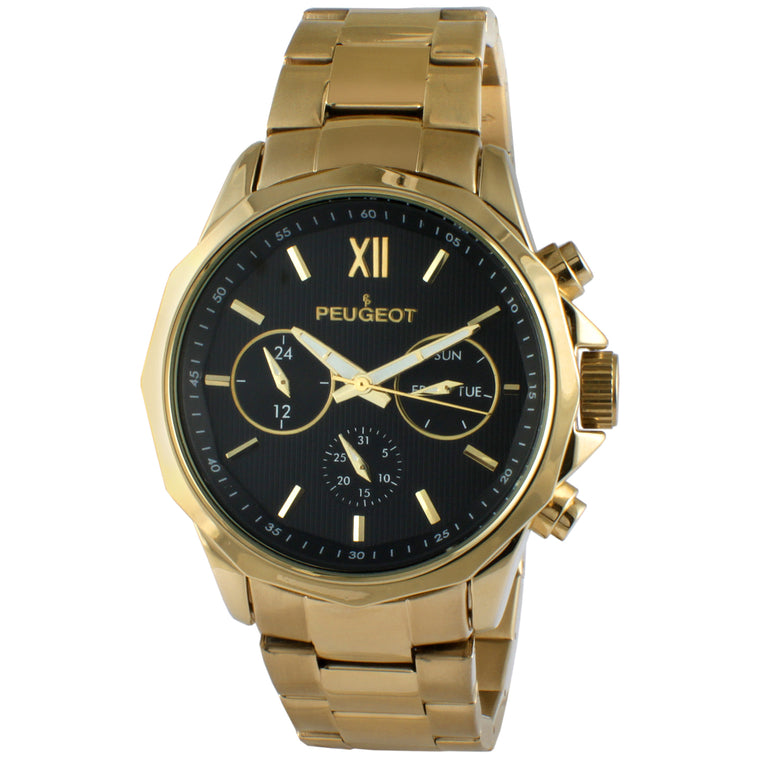 "The Peugeot Men's Stainless Steel Three Sub Dial Watch - Gold features a multi-function calendar movement with 3 subdials for 24hr, day, and date. It is paired with a stainless steel adjustable mesh band, Roman numeral dial and silver-tone hands. The Peugeot Men's Stainless Steel Three Sub Dial Watch - Gold fits wrist sizes from 5 1/2"" to 9""."