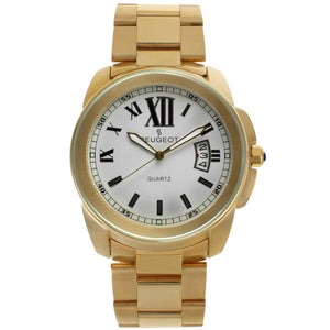 mens gold plated round face watch with roman numerals and date