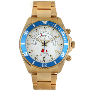 mens circle calander wrist watch, gold plated with a blue bezel