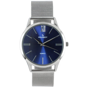 mens round face watch, stainless steel  with blue face, stainlless steel mesh strap