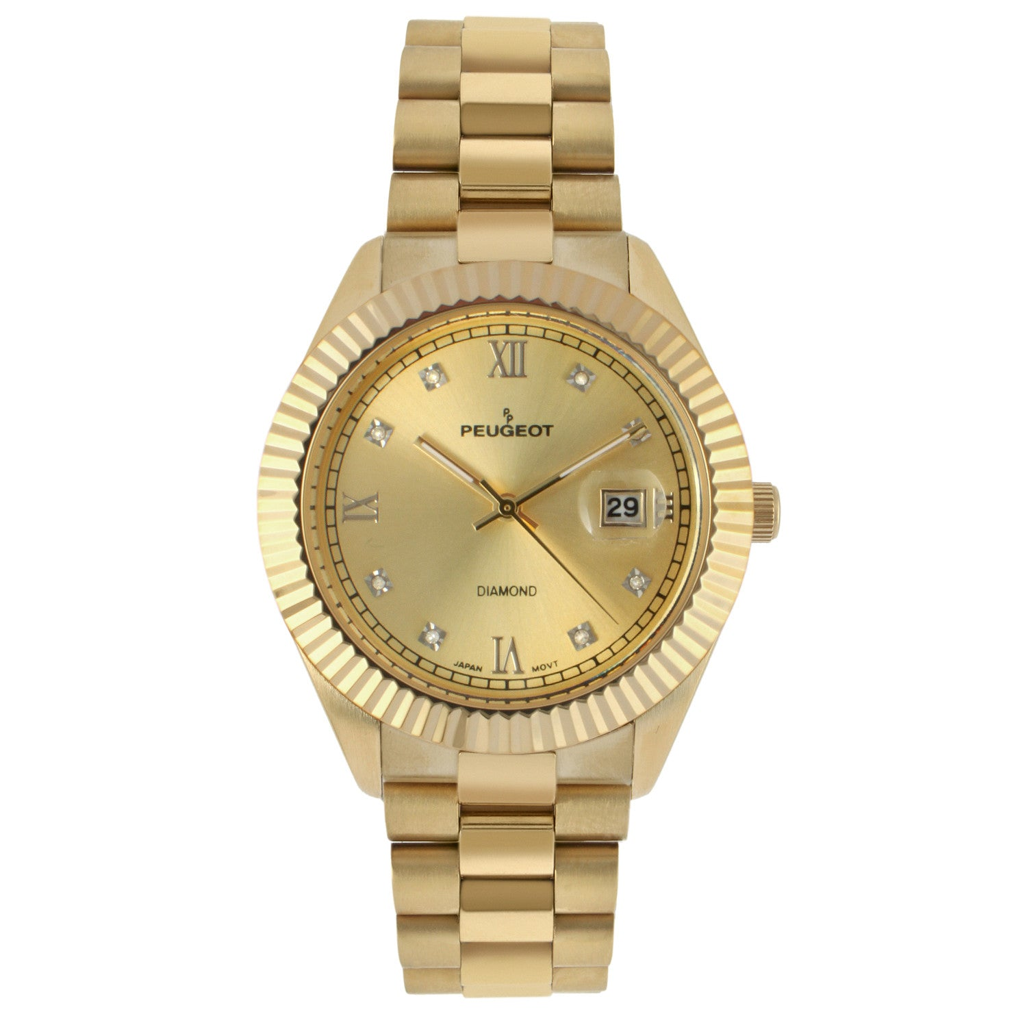 'Diamond' Quartz Metal and Stainless Steel Dress Watch, Color:Gold-Toned