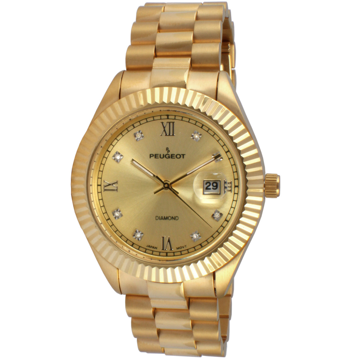 Peugeot  Men's Diamond Dial Quartz Watch 14K gold Plated Stainless Steel Dress Watch Rolex design fluted bezel with date window lifetime warranty -Gold Tone is an all gold plated watch.  It is highlighted by 8 Genuine diamond markers alternating with applied Roman Numeral & enlarged date window at 3 o'clock. Thin luminous hands center and gold-tone dial background make the Peugeot 'Diamond' Quartz Metal & Stainless Steel Dress Watch - Gold Tone a luxury inspired timepiece together.