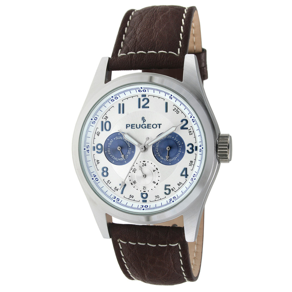 98a586179de Multi-Function Leather Watch - Brown