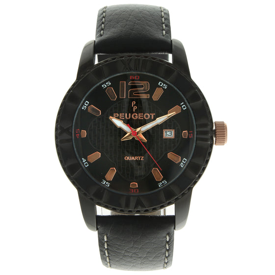 Men 44mm Bold Roman Bezel Leather Strap