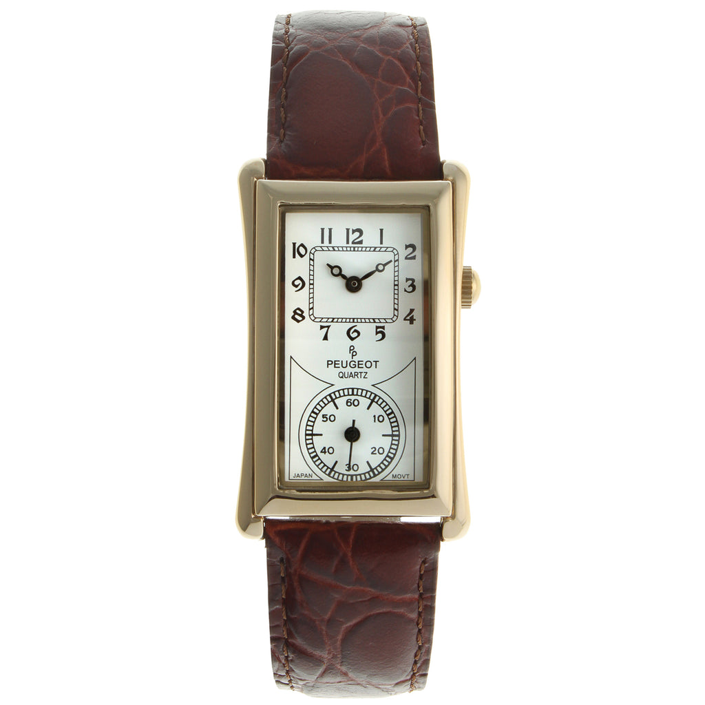 Vintage Leather Doctor's Watch in Brown by Peugeot - Peugeot Watches