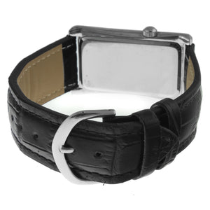 Men 40 x 24 mm Large Remote Sweep Leather Strap