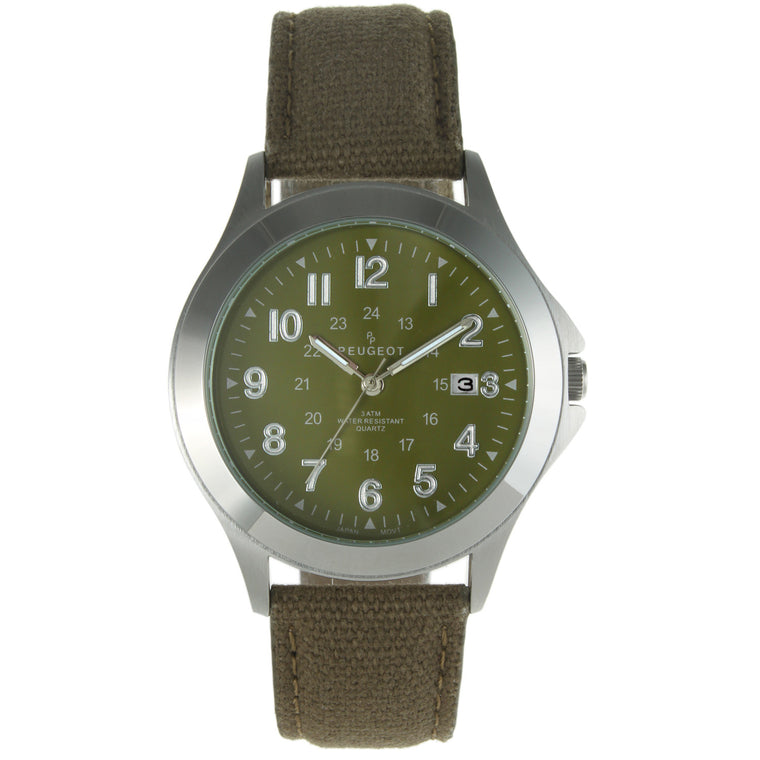 Stainless Steel 24HR Military Canvas Strap Watch - Green - Peugeot Watches