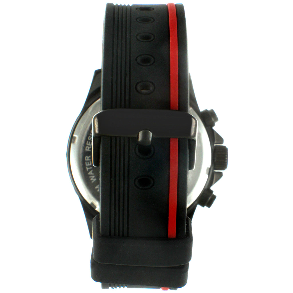 Peugeot Multi-Function Rubber Sport Men's Watch - Black/ Red