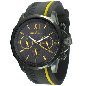 mens round face watch with day and date, black and yellow face, black and yellow rubber band