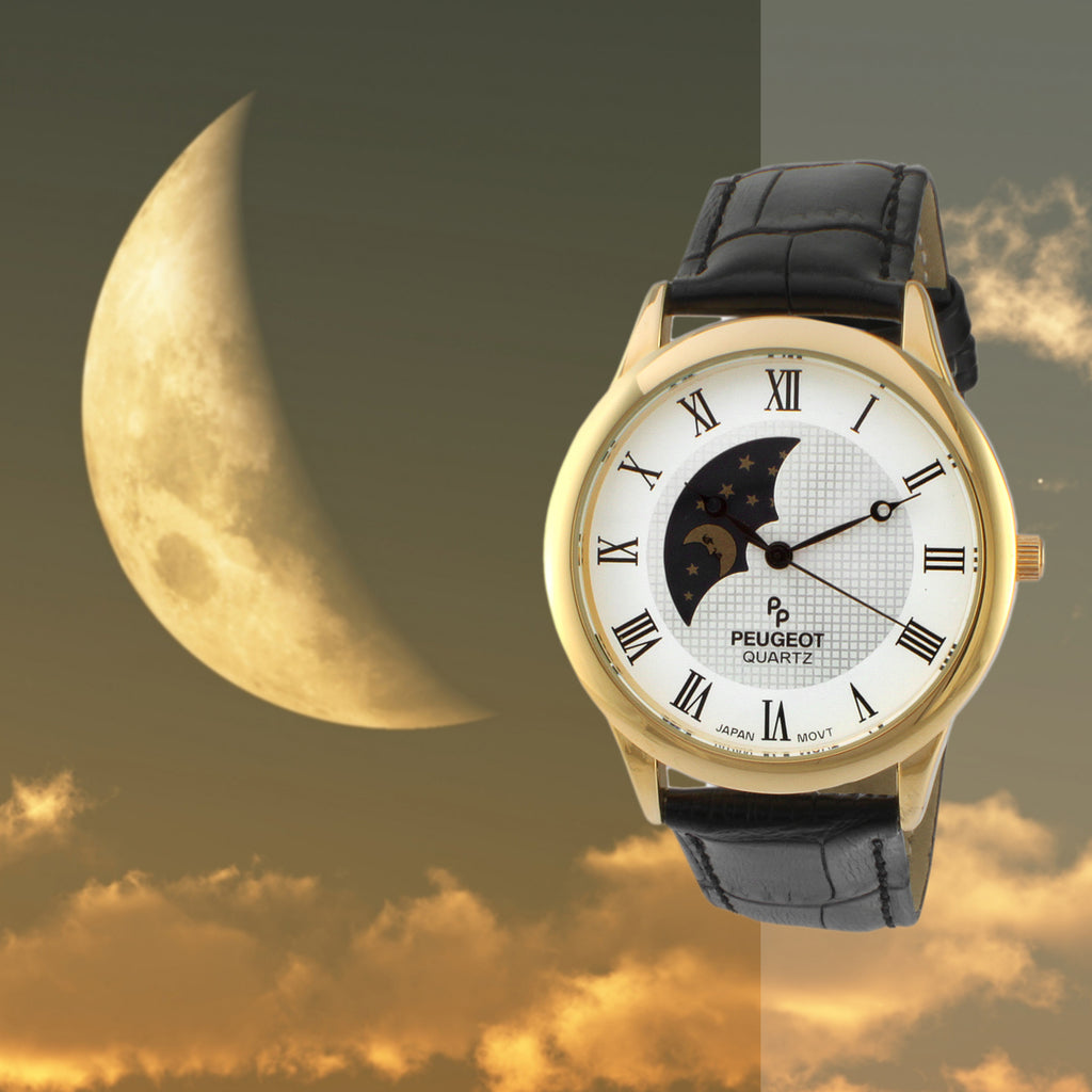 Gold Plated Decorative Sun-Moon Phase Roman Numeral Watch by Peugeot