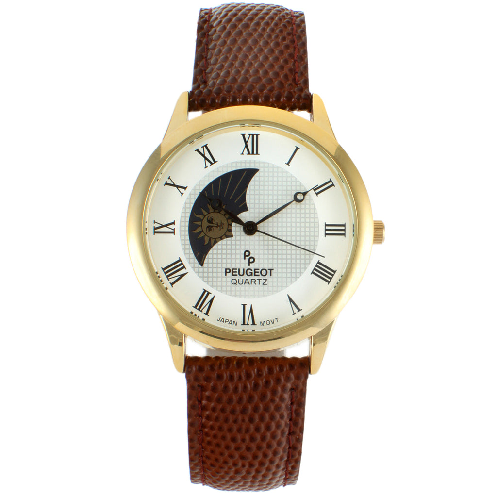 Men 38mm Sun-Moon Leather Strap
