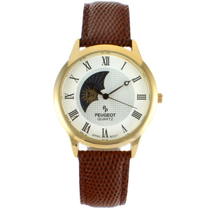 mens round watch, roman numerals gold plated, white face with alternating sun and moon design, brown leather strap