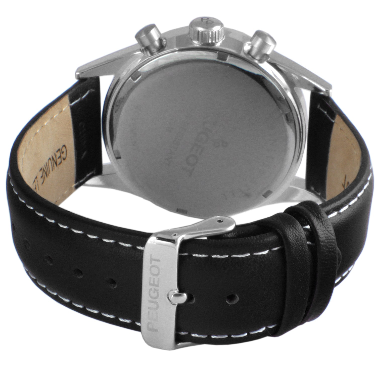 Stainless Steel Micro-Fiber Multi Function Watch - Silver/ Black