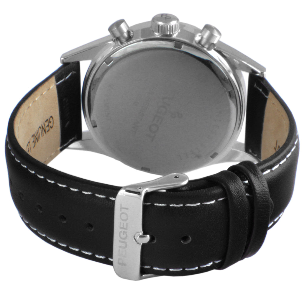 Stainless Steel Micro-Fiber Multi Function Watch - Silver/ Black - Peugeot Watches