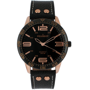 Bold Numeral Sport Leather Strap- gold/black, black leather band
