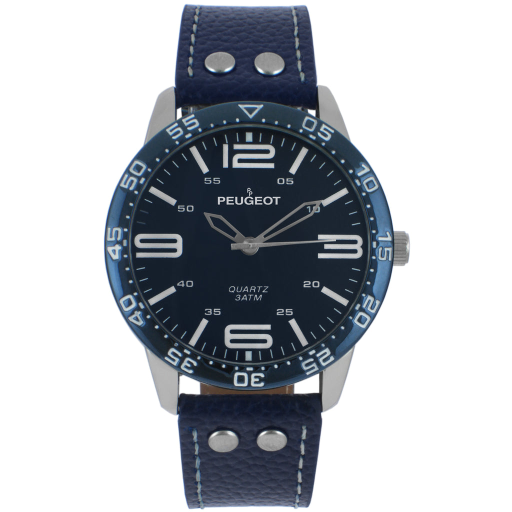Men 44mm Bold Numeral Sport Leathr Strap
