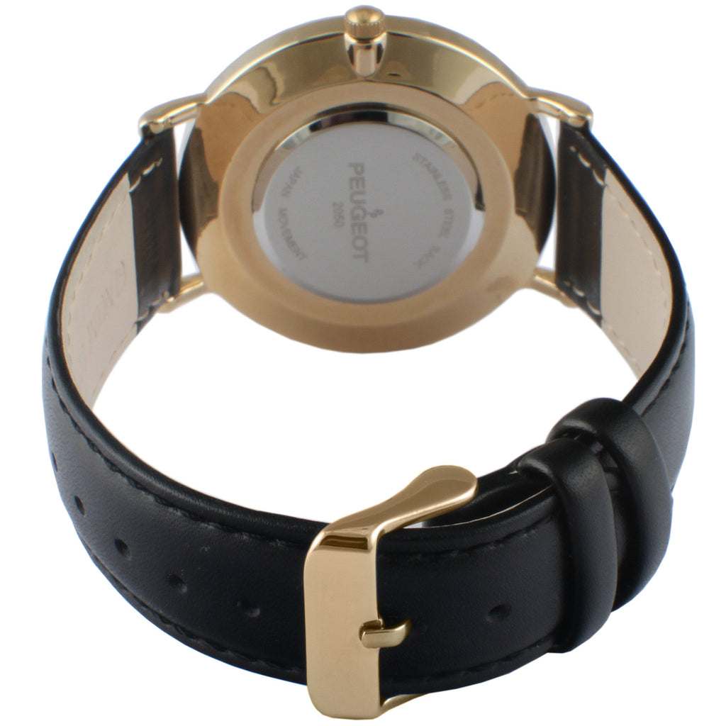 Slim Round Leather Watch - Black - Peugeot Watches