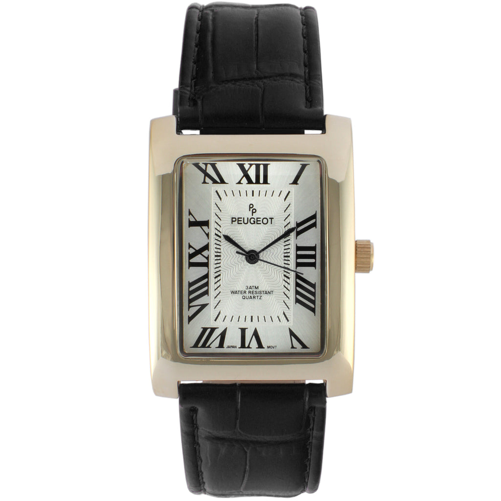 Gold Tone Men's Roman Numeral Watch in Black by Peugeot - Peugeot Watches