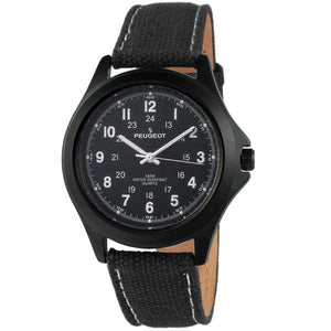 men watch military dial, black face black canvas strap