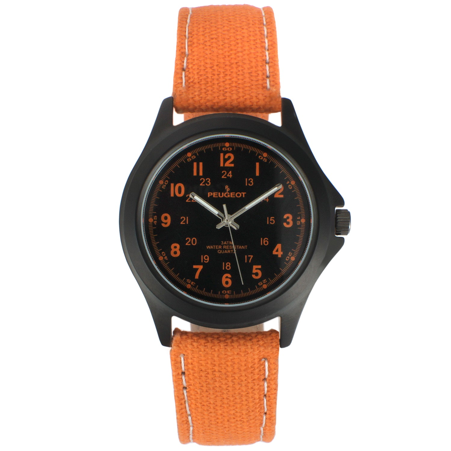 24 HR MILITARY CANVAS STRAP WATCH - ORANGE