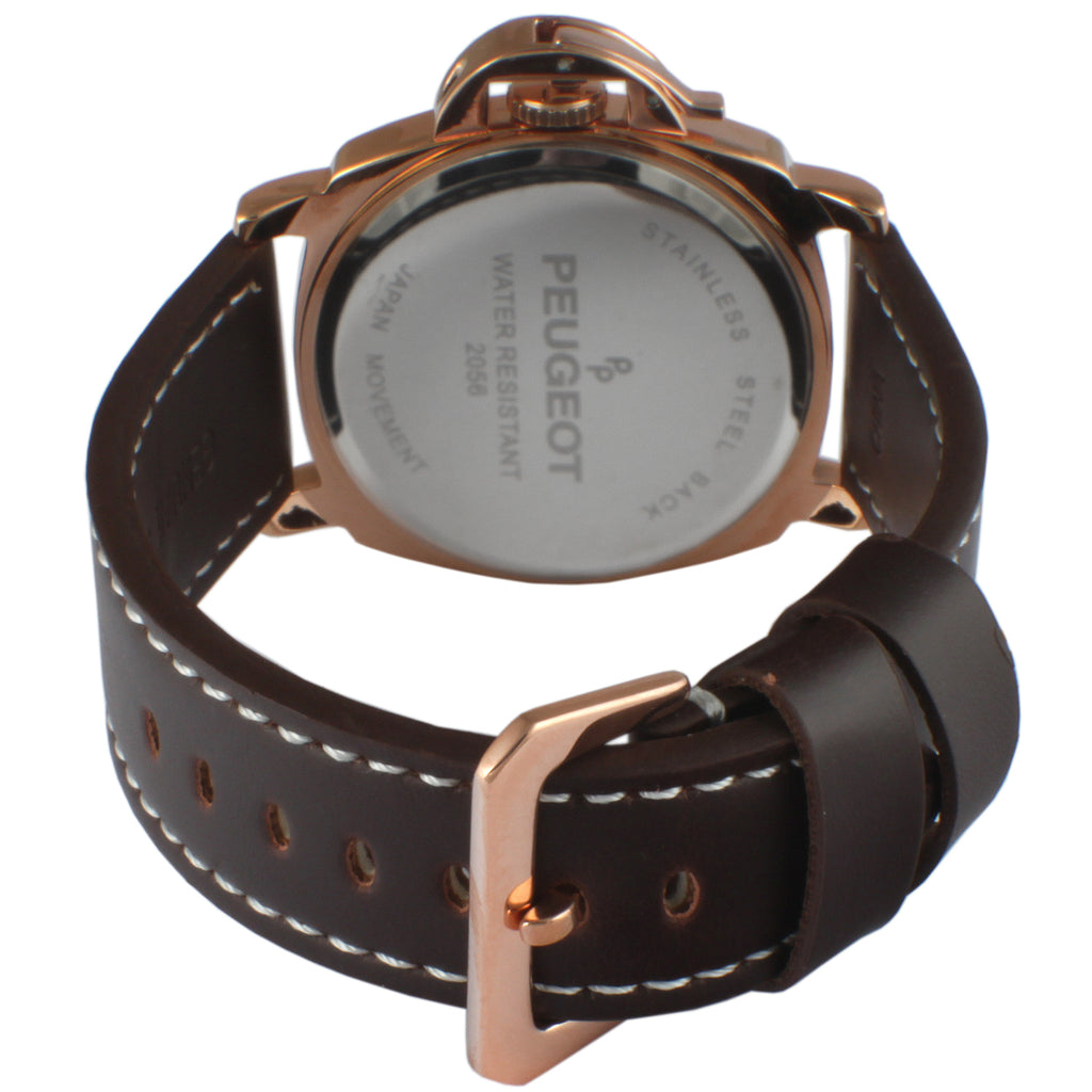 Multi-Function Leather Men's Watch with Crown Guard by Peugeot -Brown - Peugeot Watches