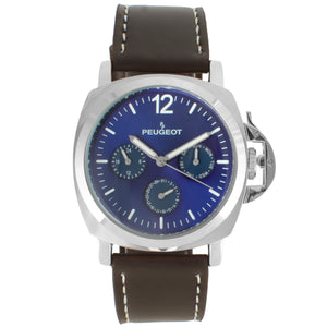 mens multi  function watch with leather strap, blue face