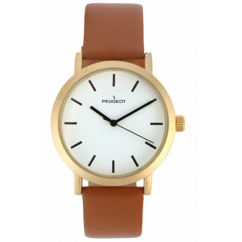 Peugeot Men's Casual Everyday Watch, Analog Minimalist Classic Design with Leather Band