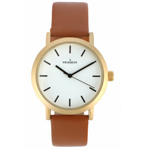 mens round face watch , gold plated white face with brown leather strap