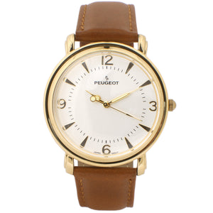 Men's Vinatge watch Gold Plated with Brown leather Strap