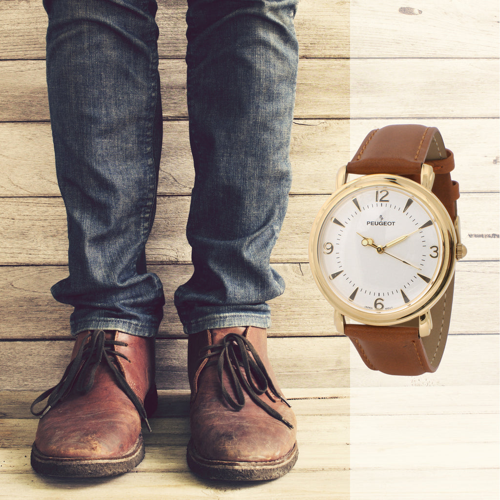 Men's Vinatge Gold Plated with Brown leather Strap - Peugeot Watches