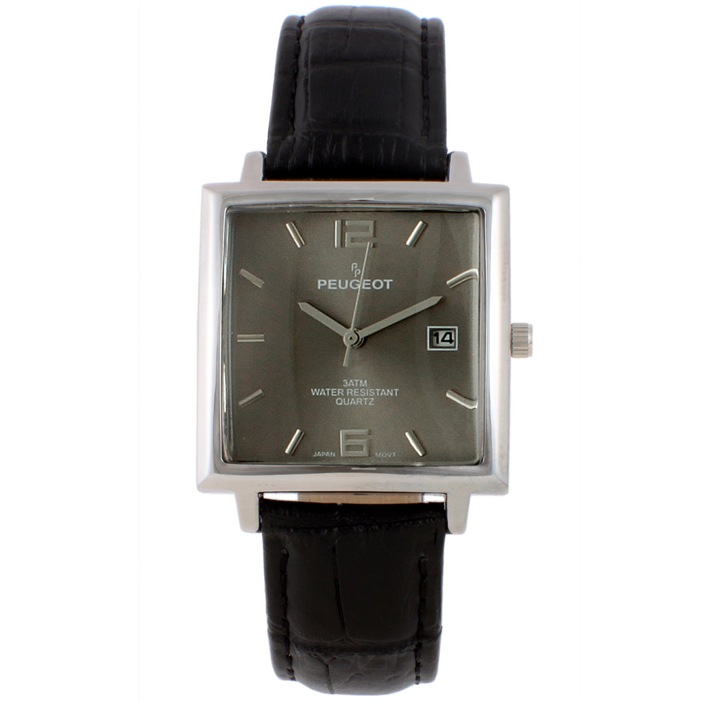 Men 36mm Square Modern Calendar Leather Strap