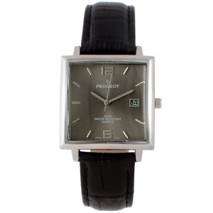 mens square face watch, silver trim grey face leather band