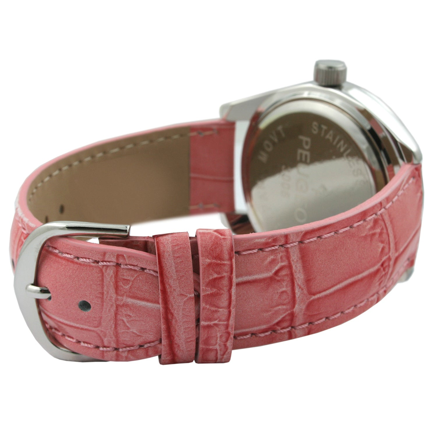 Round Crystal Leather Watch - Pink