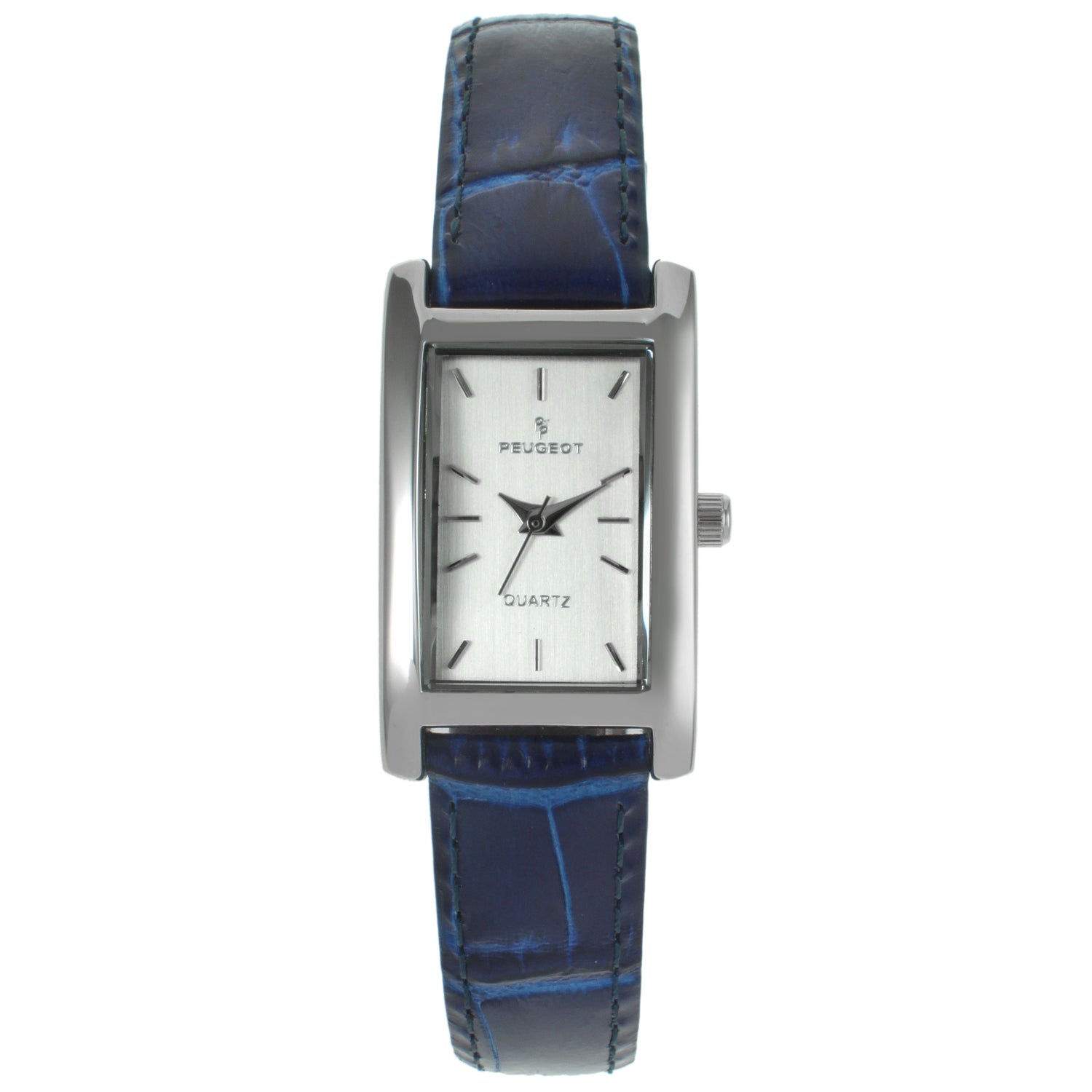 Rectangular Leather Watch - Blue