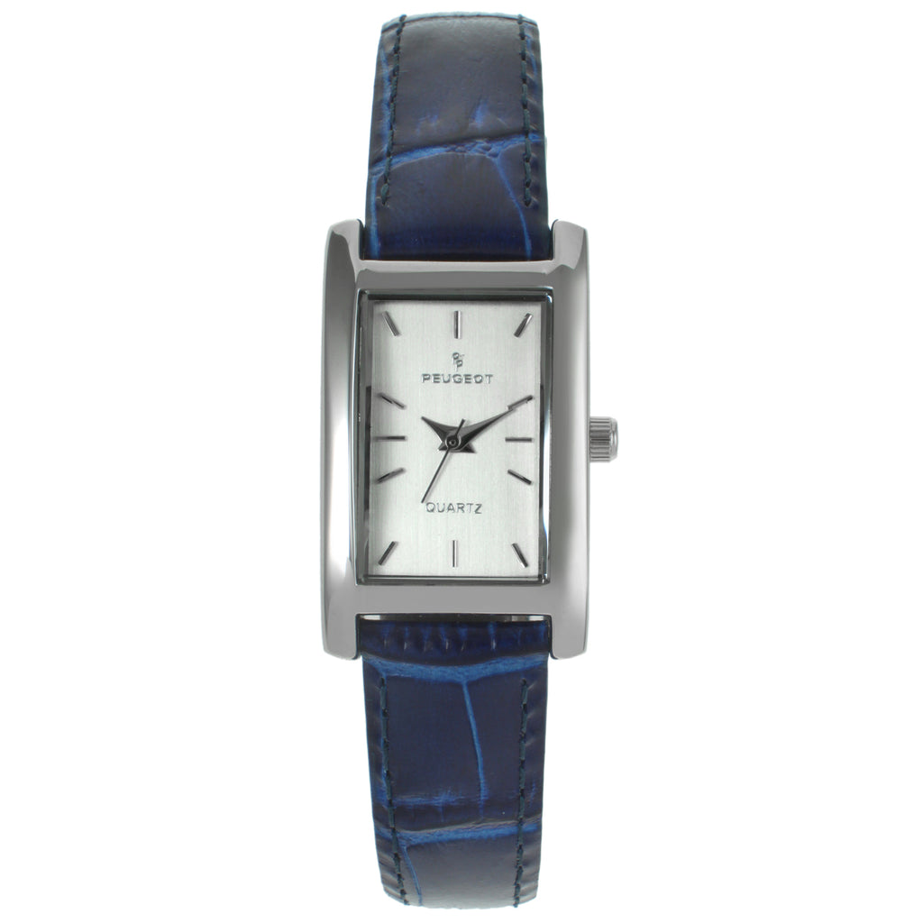 Rectangular Leather Watch - Blue - Peugeot Watches