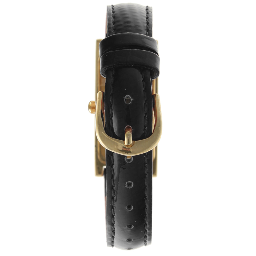 Rectangular Leather Watch - Black - Peugeot Watches