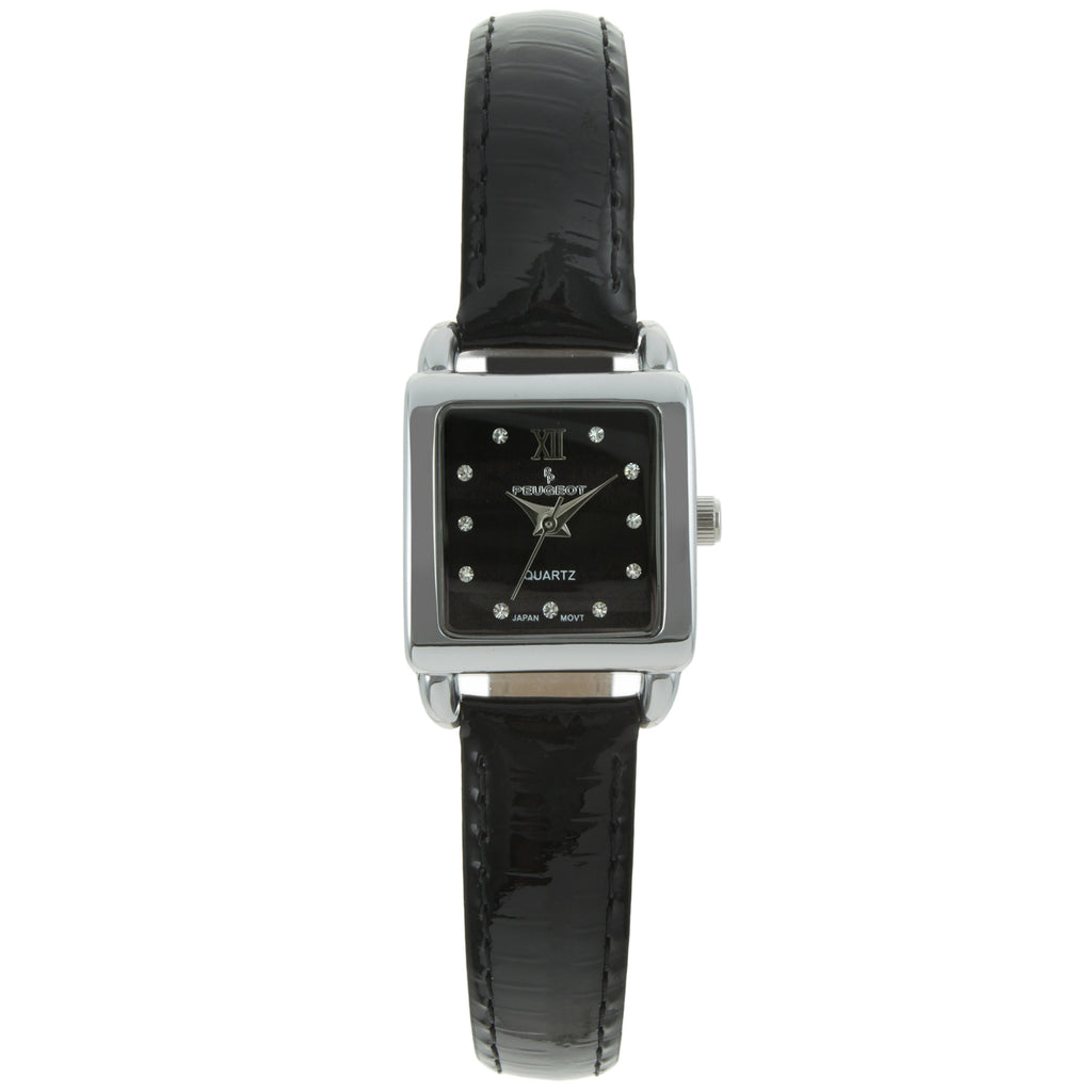 Women 20mm Square Glossy Leather Strap