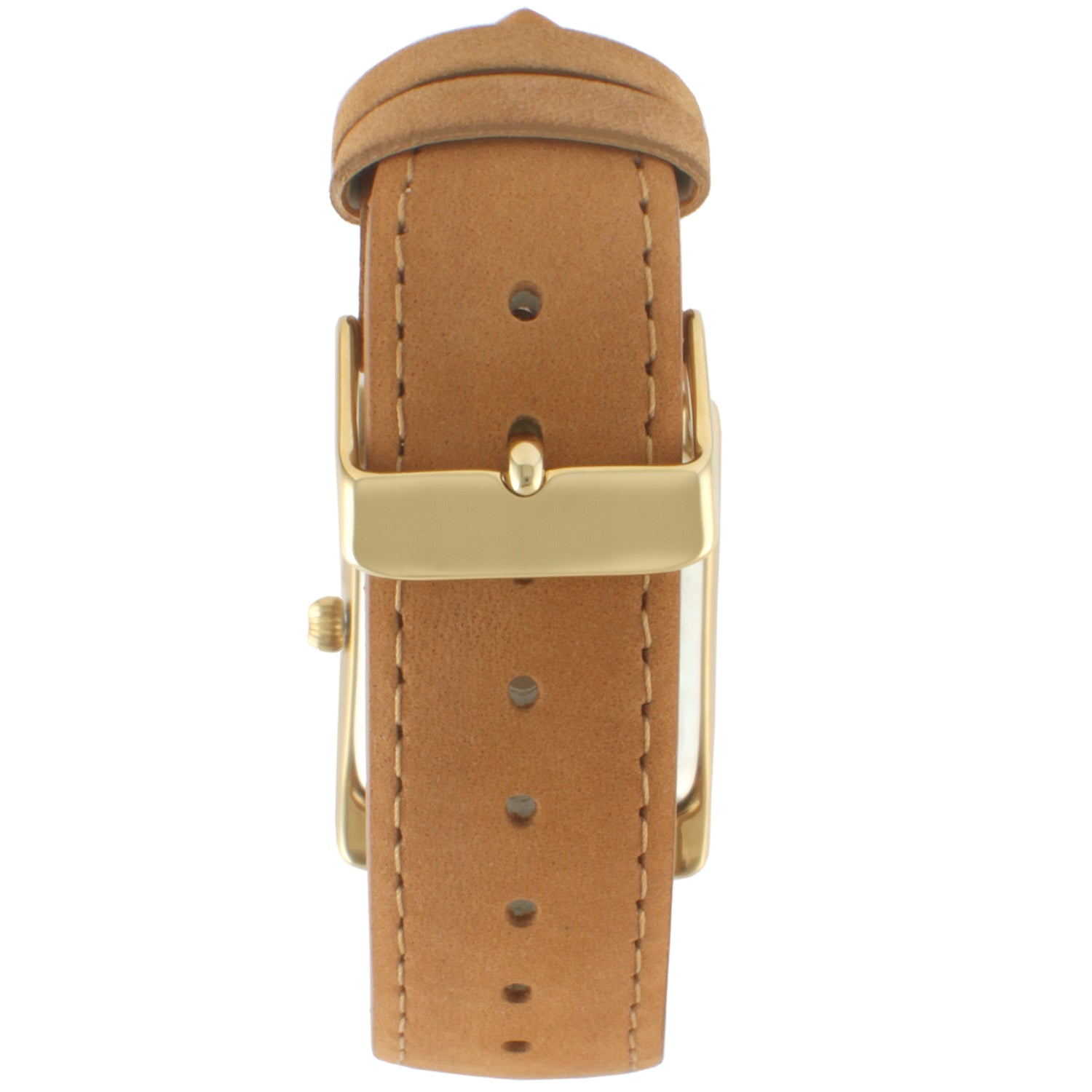 Square Gold Suede Leather Watch - Brown